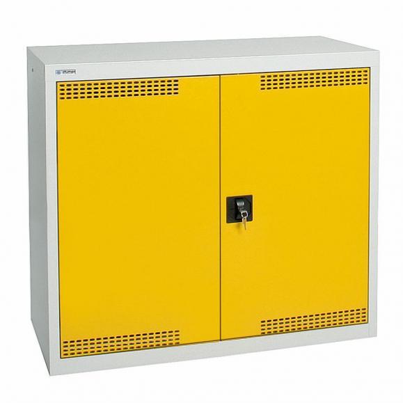 Umweltschrank mit Türlochung zur Belüftung P2 Signalgelb RAL 1003 | 900 | 1000 | 2 Wannen | Drehriegelverschluss