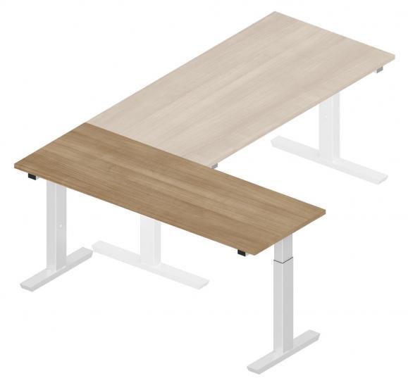 Anbautisch 1600 T-Fuß PROFI MODUL Nussdekor | Alusilber RAL 9006