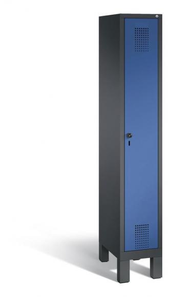Garderoben-Stahlspind SERIE EVOLO mit Füßen Enzianblau RAL 5010 | Anthrazit RAL 7021 | 300 | 1