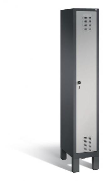Garderoben-Stahlspind SERIE EVOLO mit Füßen Alusilber RAL 9006 | Anthrazit RAL 7021 | 300 | 1
