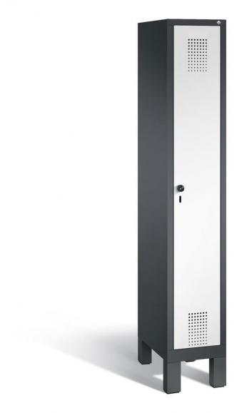 Garderoben-Stahlspind SERIE EVOLO mit Füßen Verkehrsweiß RAL 9016 | 300 | 1 | Anthrazit RAL 7021