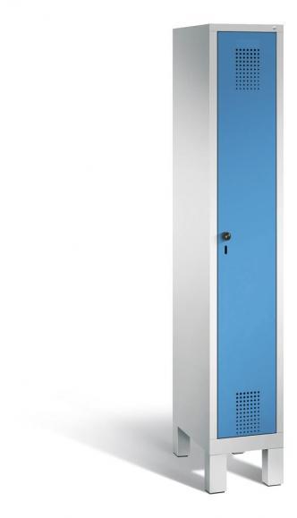 Garderoben-Stahlspind SERIE EVOLO mit Füßen Lichtblau RAL 5012 | 300 | 1 | Lichtgrau RAL 7035