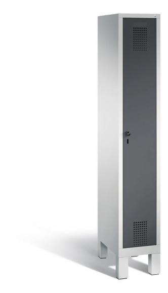 Garderoben-Stahlspind SERIE EVOLO mit Füßen Anthrazit RAL 7021 | Lichtgrau RAL 7035 | 300 | 1