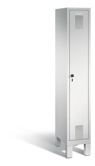 Garderoben-Stahlspind SERIE EVOLO mit Füßen Lichtgrau RAL 7035 | 300 | 1 | Lichtgrau RAL 7035