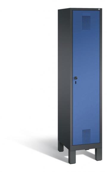 Garderoben-Stahlspind SERIE EVOLO mit Füßen Enzianblau RAL 5010 | Anthrazit RAL 7021 | 400 | 1