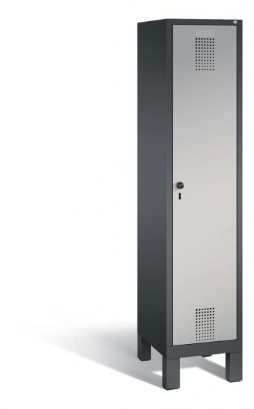 Garderoben-Stahlspind SERIE EVOLO mit Füßen Alusilber RAL 9006 | 400 | 1 | Anthrazit RAL 7021