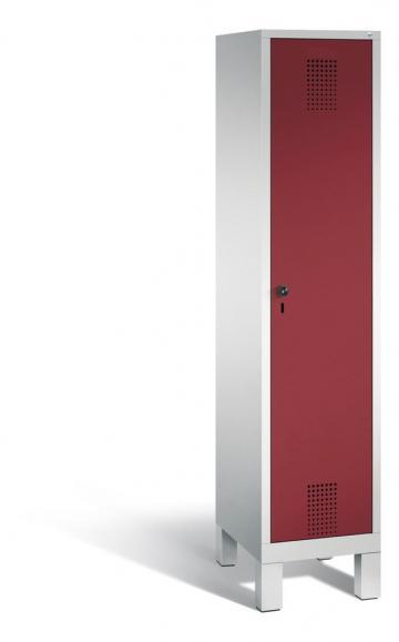 Garderoben-Stahlspind SERIE EVOLO mit Füßen Rubinrot RAL 3003   400   1   Lichtgrau RAL 7035