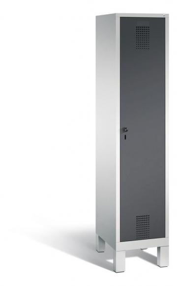 Garderoben-Stahlspind SERIE EVOLO mit Füßen Anthrazit RAL 7021 | Lichtgrau RAL 7035 | 400 | 1