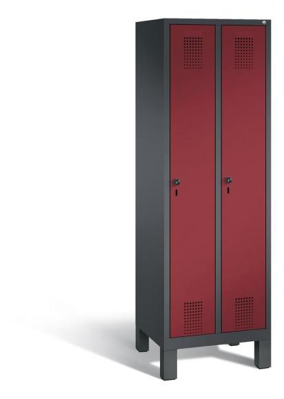 Garderoben-Stahlspind SERIE EVOLO mit Füßen Rubinrot RAL 3003 | Anthrazit RAL 7021 | 300 | 2
