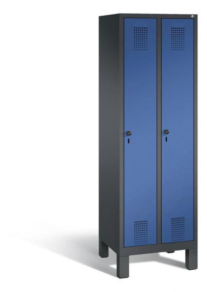 Garderoben-Stahlspind SERIE EVOLO mit Füßen Enzianblau RAL 5010 | 300 | 2 | Anthrazit RAL 7021