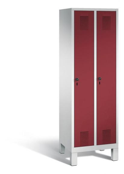 Garderoben-Stahlspind SERIE EVOLO mit Füßen Rubinrot RAL 3003 | Lichtgrau RAL 7035 | 300 | 2