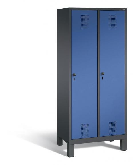 Garderoben-Stahlspind SERIE EVOLO mit Füßen Enzianblau RAL 5010   Anthrazit RAL 7021   400   2