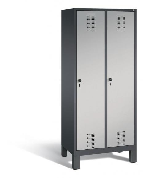 Garderoben-Stahlspind SERIE EVOLO mit Füßen Alusilber RAL 9006 | Anthrazit RAL 7021 | 400 | 2