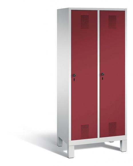 Garderoben-Stahlspind SERIE EVOLO mit Füßen Rubinrot RAL 3003 | 400 | 2 | Lichtgrau RAL 7035
