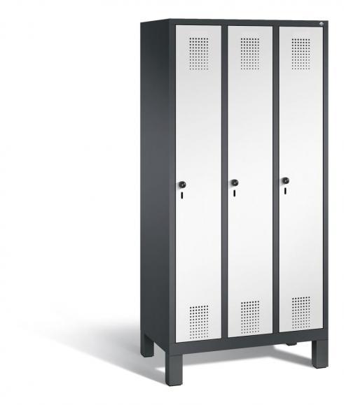 Garderoben-Stahlspind SERIE EVOLO mit Füßen Verkehrsweiß RAL 9016 | 300 | 3 | Anthrazit RAL 7021
