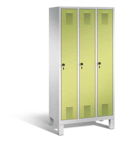 Garderoben-Stahlspind SERIE EVOLO mit Füßen Apfelgrün | Lichtgrau RAL 7035 | 300 | 3