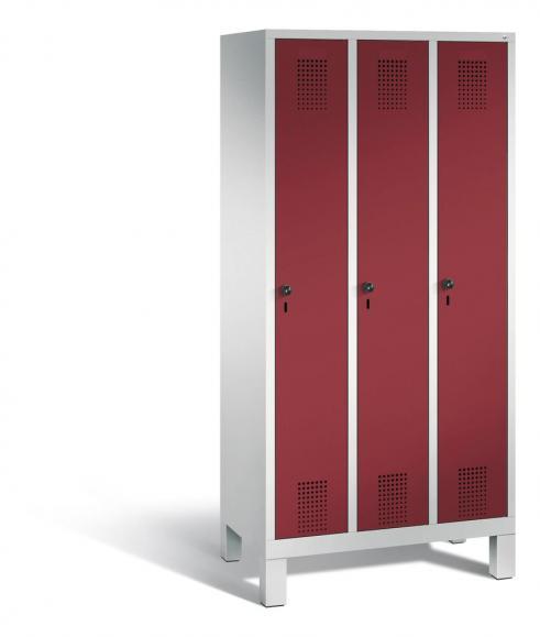Garderoben-Stahlspind SERIE EVOLO mit Füßen Rubinrot RAL 3003 | 300 | 3 | Lichtgrau RAL 7035