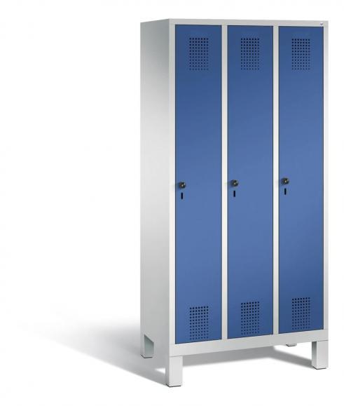 Garderoben-Stahlspind SERIE EVOLO mit Füßen Enzianblau RAL 5010 | 300 | 3 | Lichtgrau RAL 7035