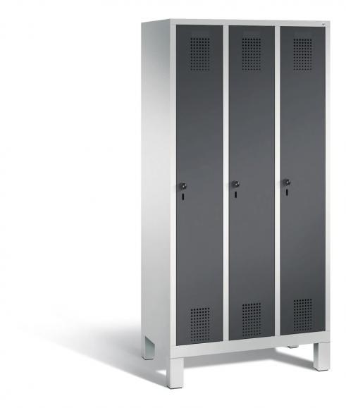 Garderoben-Stahlspind SERIE EVOLO mit Füßen Anthrazit RAL 7021 | Lichtgrau RAL 7035 | 300 | 3