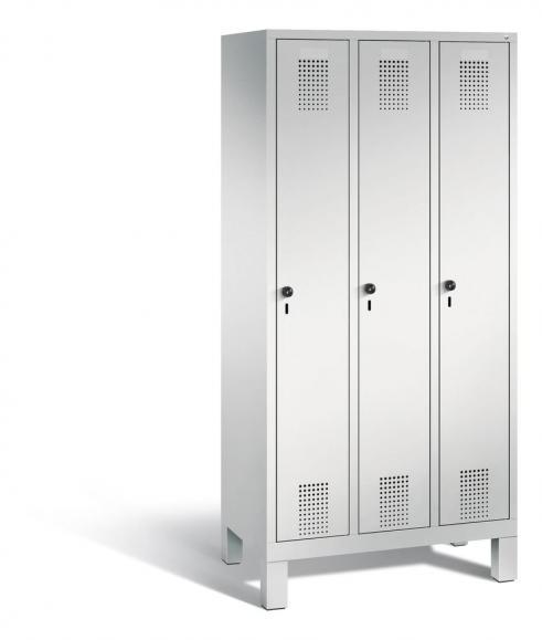 Garderoben-Stahlspind SERIE EVOLO mit Füßen Lichtgrau RAL 7035 | Lichtgrau RAL 7035 | 300 | 3