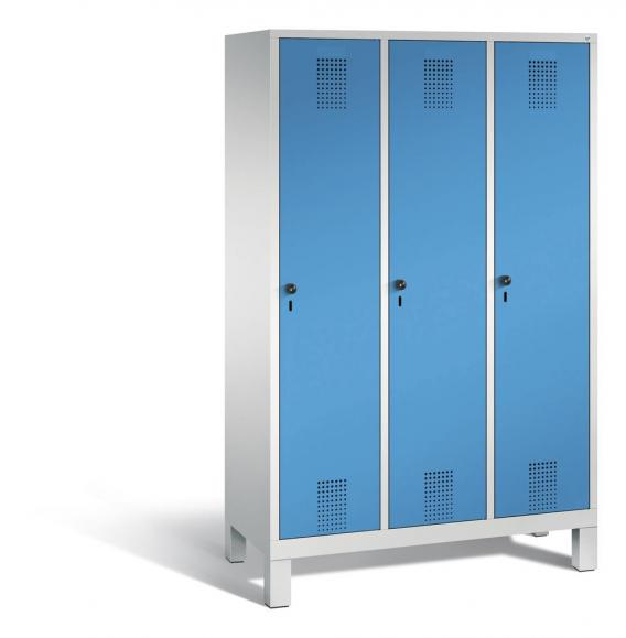 Garderoben-Stahlspind SERIE EVOLO mit Füßen Lichtblau RAL 5012 | 400 | 3 | Lichtgrau RAL 7035