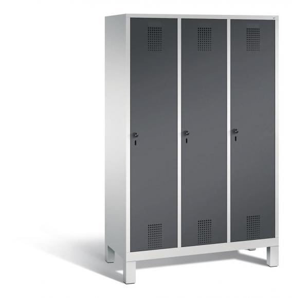 Garderoben-Stahlspind SERIE EVOLO mit Füßen Anthrazit RAL 7021   400   3   Lichtgrau RAL 7035