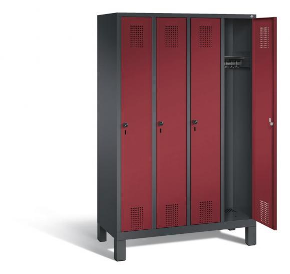 Garderoben-Stahlspind SERIE EVOLO mit Füßen Rubinrot RAL 3003 | Anthrazit RAL 7021 | 300 | 4