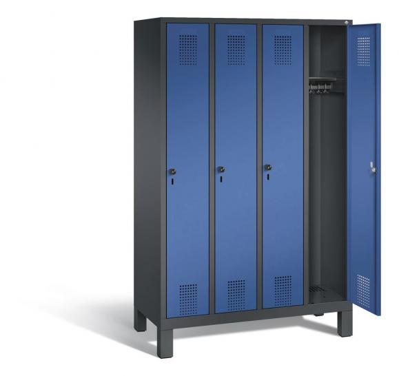 Garderoben-Stahlspind SERIE EVOLO mit Füßen Enzianblau RAL 5010 | Anthrazit RAL 7021 | 300 | 4