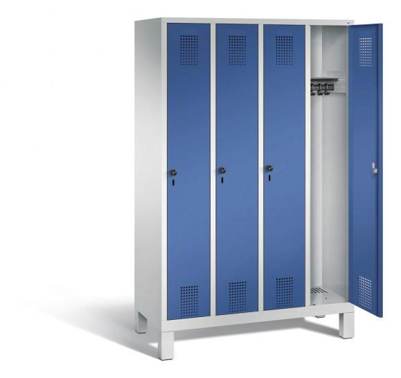 Garderoben-Stahlspind SERIE EVOLO mit Füßen Enzianblau RAL 5010 | 300 | 4 | Lichtgrau RAL 7035
