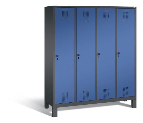Garderoben-Stahlspind SERIE EVOLO mit Füßen Enzianblau RAL 5010 | 400 | 4 | Anthrazit RAL 7021