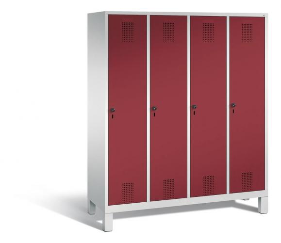 Garderoben-Stahlspind SERIE EVOLO mit Füßen Rubinrot RAL 3003 | 400 | 4 | Lichtgrau RAL 7035