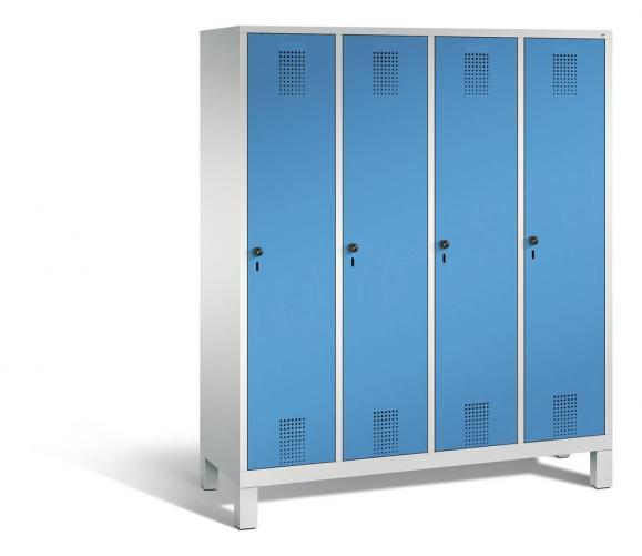 Garderoben-Stahlspind SERIE EVOLO mit Füßen Lichtblau RAL 5012 | 400 | 4 | Lichtgrau RAL 7035