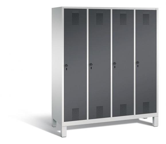 Garderoben-Stahlspind SERIE EVOLO mit Füßen Anthrazit RAL 7021 | Lichtgrau RAL 7035 | 400 | 4