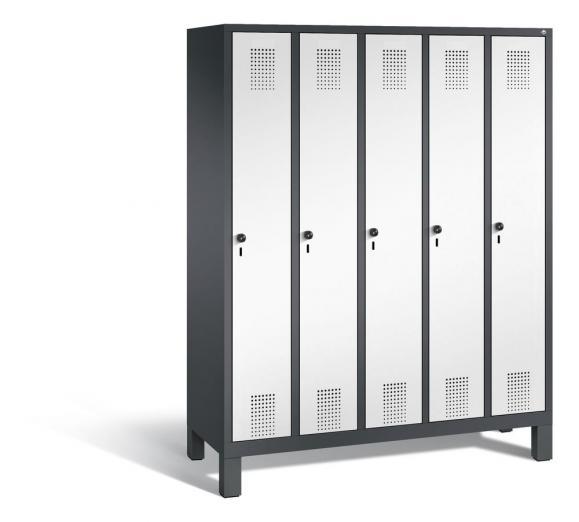 Garderoben-Stahlspind SERIE EVOLO mit Füßen Verkehrsweiß RAL 9016 | Anthrazit RAL 7021 | 300 | 5