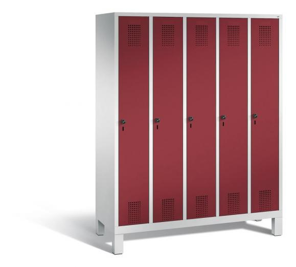 Garderoben-Stahlspind SERIE EVOLO mit Füßen Rubinrot RAL 3003 | Lichtgrau RAL 7035 | 300 | 5
