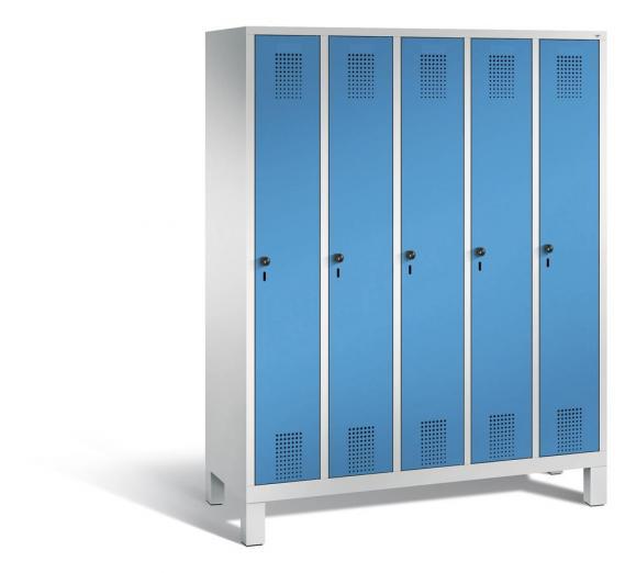 Garderoben-Stahlspind SERIE EVOLO mit Füßen Lichtblau RAL 5012 | Lichtgrau RAL 7035 | 300 | 5