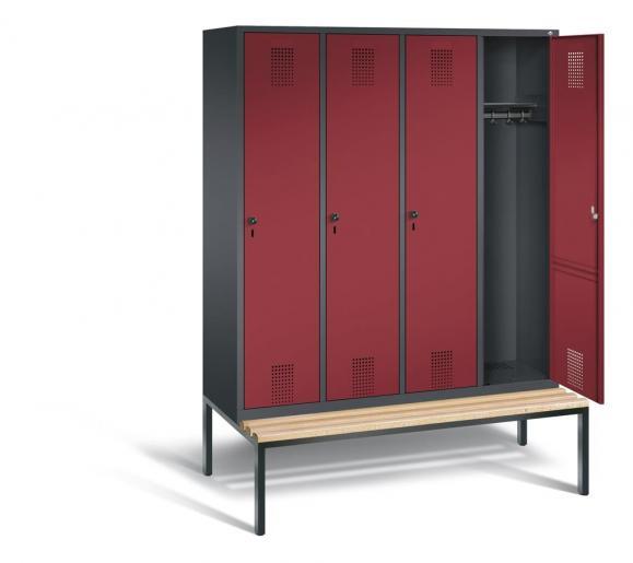 Garderoben-Stahlspinde Serie EVOLO mit Sitzbank