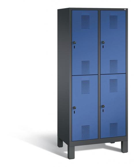 Doppelstöckiger Garderobenspind EVOLO mit Füßen Enzianblau RAL 5010 | 400 | 4 | Anthrazit RAL 7021