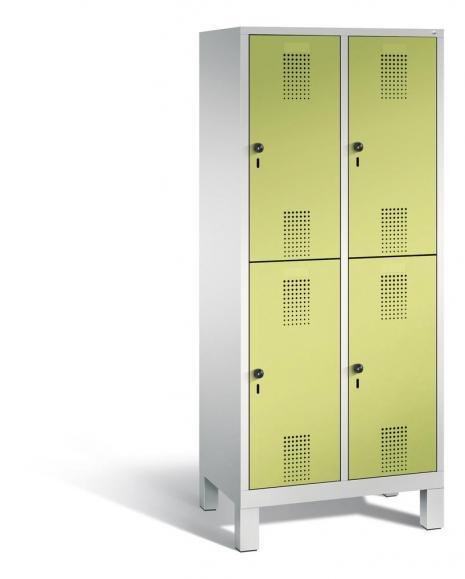 Doppelstöckiger Garderobenspind EVOLO mit Füßen Apfelgrün | 400 | 4 | Lichtgrau RAL 7035
