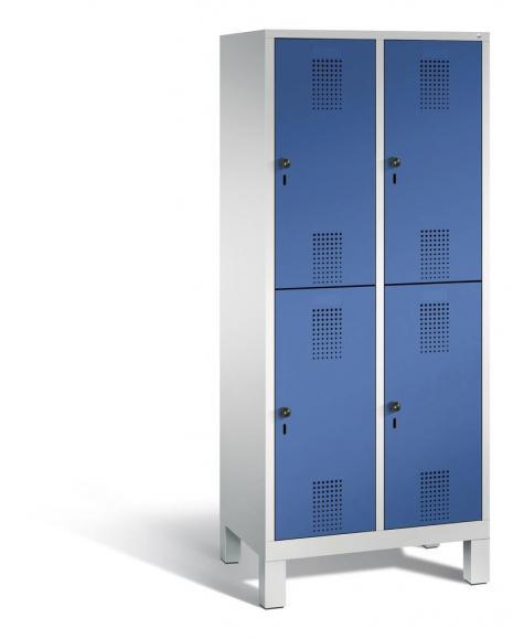 Doppelstöckiger Garderobenspind EVOLO mit Füßen Enzianblau RAL 5010 | 400 | 4 | Lichtgrau RAL 7035
