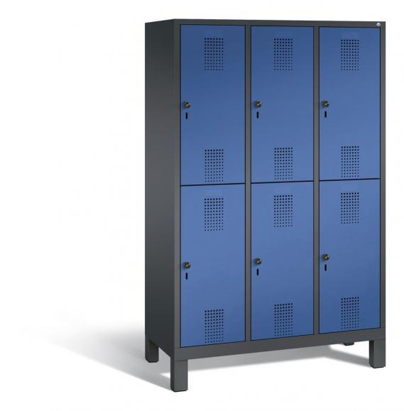 Doppelstöckiger Garderobenspind EVOLO mit Füßen Enzianblau RAL 5010 | 400 | 6 | Anthrazit RAL 7021