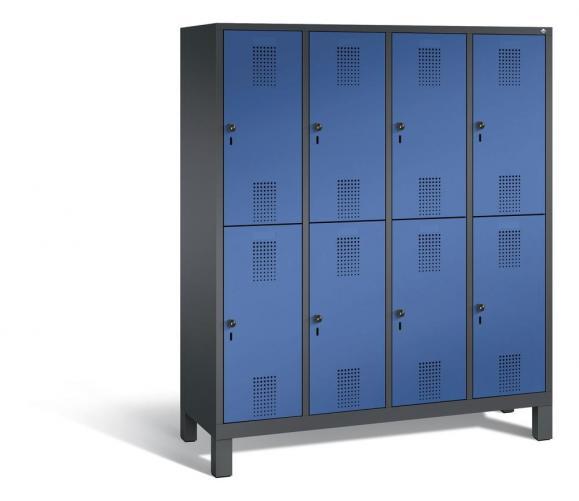 Doppelstöckiger Garderobenspind EVOLO mit Füßen Enzianblau RAL 5010   400   8   Anthrazit RAL 7021