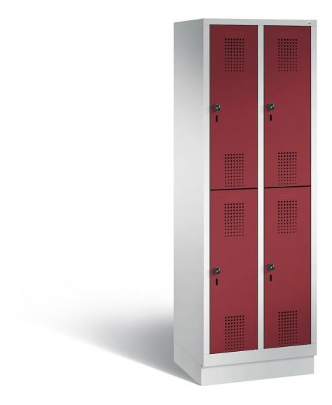 Doppelstöckiger Garderobenspind EVOLO mit Sockel Rubinrot RAL 3003 | Lichtgrau RAL 7035 | 300 | 4