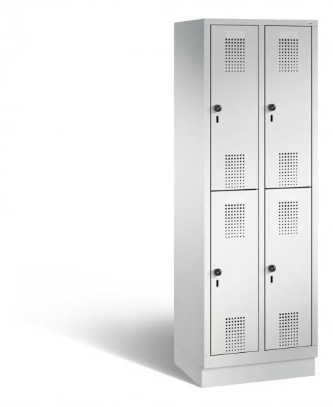 Doppelstöckiger Garderobenspind EVOLO mit Sockel Lichtgrau RAL 7035 | 300 | 4 | Lichtgrau RAL 7035