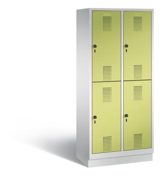 Doppelstöckiger Garderobenspind EVOLO mit Sockel Apfelgrün | Lichtgrau RAL 7035 | 400 | 4