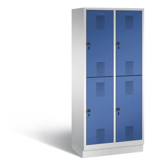 Doppelstöckiger Garderobenspind EVOLO mit Sockel Enzianblau RAL 5010 | 400 | 4 | Lichtgrau RAL 7035