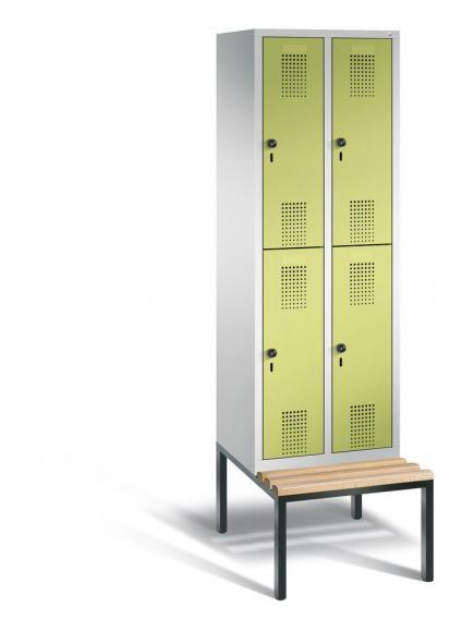 Doppelstöckiger Garderobenspind EVOLO mit Sitzbank Apfelgrün | 300 | 4 | Lichtgrau RAL 7035