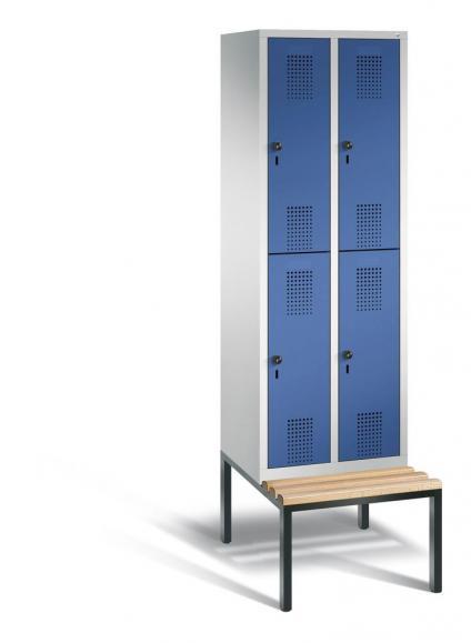 Doppelstöckiger Garderobenspind EVOLO mit Sitzbank Enzianblau RAL 5010 | Lichtgrau RAL 7035 | 300 | 4