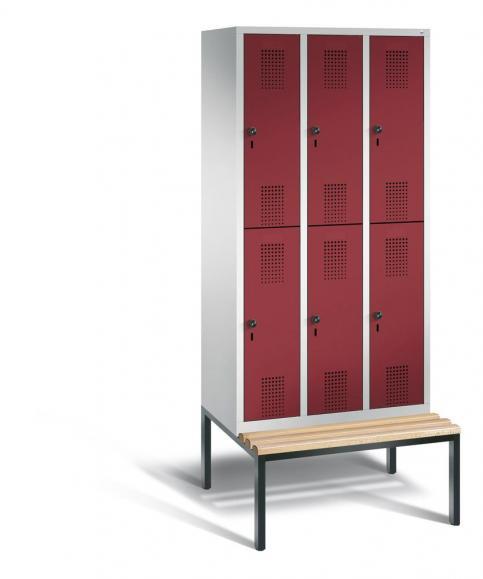 Doppelstöckiger Garderobenspind EVOLO mit Sitzbank Rubinrot RAL 3003 | 300 | 6 | Lichtgrau RAL 7035