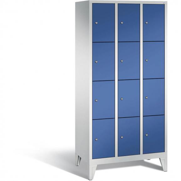 Schließfachschrank BASIC, 4 Fächer mit Füßen Enzianblau RAL 5010 | 230 | 3 | 12